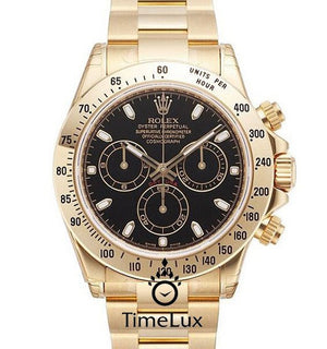 Replica Rolex Cosmograph Daytona Gold Black Dial - TimeLux - Replica Watches Greece