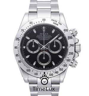 Replica Rolex Cosmograph Daytona Black Dial SS - TimeLux - Replica Watches Greece