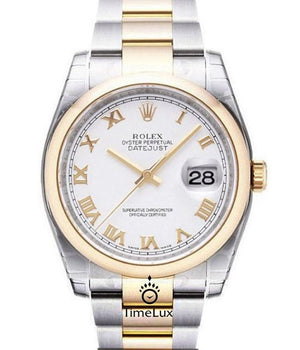 Replica Rolex Datejust 2-Tone 36mm White Dial Roman Markers - TimeLux - Replica Watches Greece