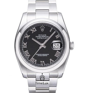 Replica Rolex Datejust 36mm Oyster Bezel Black Dial Roman Markers - TimeLux - Replica Watches Greece