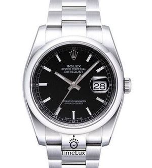 Replica Rolex Datejust 36mm Oyster Bezel Black Dial Stick Markers - TimeLux - Replica Watches Greece