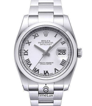 Replica Rolex Datejust 36mm Oyster Bezel White Dial Roman Markers - TimeLux - Replica Watches Greece
