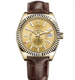 Replica Rolex Sky-Dweller Gold Gold Dial Leather Strap - TimeLux - Replica Watches Greece
