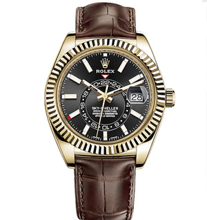 Replica Rolex Sky-Dweller Gold Black Dial Leather Strap - TimeLux - Replica Watches Greece