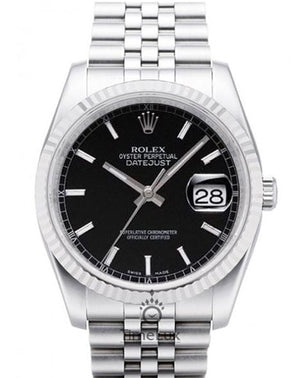 Replica Rolex Datejust Jubilee 36mm Black Dial Stick Markers - TimeLux - Replica Watches Greece