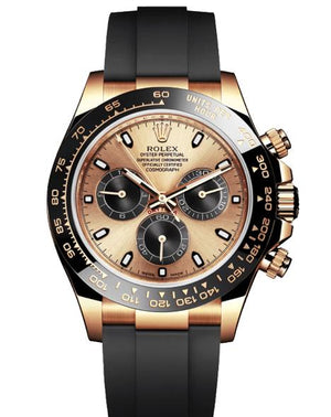 Replica Rolex Daytona Cosmograph Gold Pink Dial Black Ceramic Bezel Baselworld 2017 - TimeLux - Replica Watches Greece