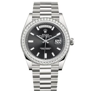 Replica Rolex Day-Date II 40mm SS Diamond Bezel Black Dial Diamond Markers - TimeLux - Replica Watches Greece