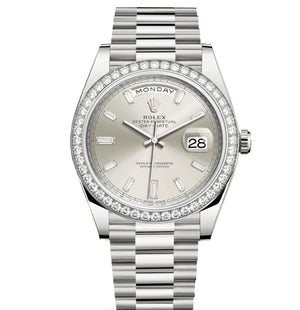Replica Rolex Day-Date II 40mm Diamond Bezel Silver Pearl Dial Stick Markers - TimeLux - Replica Watches Greece