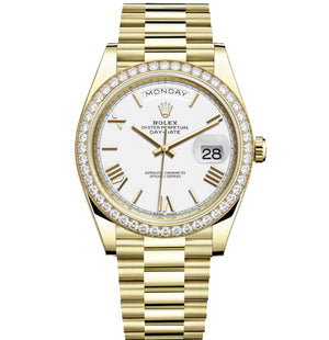 Replica Rolex Day-Date II 40mm Gold Diamond Bezel Silver Dial Roman Markers - TimeLux - Replica Watches Greece