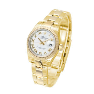 Replica Rolex Datejust 31mm Gold Fluted Bezel White Roman Markers - TimeLux - Replica Watches Greece