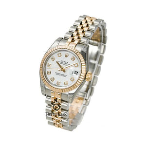 Replica Rolex Datejust 31mm 2-Tone Gold Fluted Bezel White Dial Diamond Markers - TimeLux - Replica Watches Greece