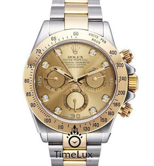 Replica Rolex Cosmograph Daytona 2-tone Gold Dial Diamonds Markers - TimeLux - Replica Watches Greece