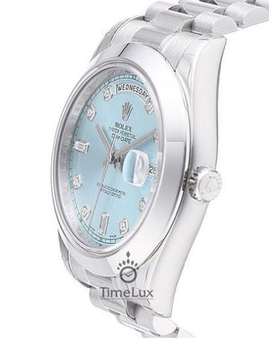 Replica Rolex Day-Date II 36mm Oyster Bezel Ice Blue Dial Diamond Markers - TimeLux - Replica Watches Greece