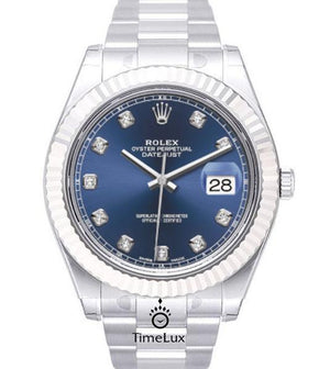 Replica Rolex Datejust 41mm SS Blue Dial Diamond Markers - TimeLux - Replica Watches Greece