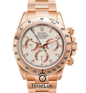 Replica Rolex Cosmograph Daytona Rose Gold White Dial - TimeLux - Replica Watches Greece