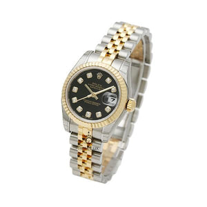 Replica Rolex Datejust 31mm 2-Tone Gold Fluted Bezel Black Dial Diamond Markers - TimeLux - Replica Watches Greece