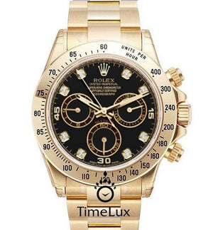 Replica Rolex Cosmograph Daytona Gold Black Dial Diamonds Bezel - TimeLux - Replica Watches Greece