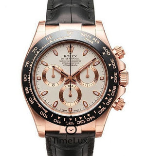 Replica Rolex Cosmograph Daytona Leather Strap Ceramic Bezel - TimeLux - Replica Watches Greece