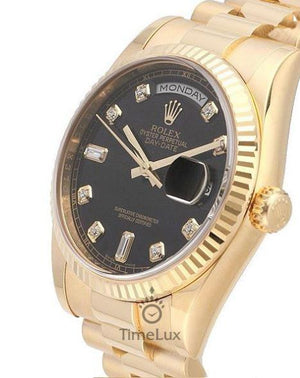 Rolex Day-Date 36mm  Black Dial Diamond Markers Fluted Bezel Gold, Ρολόι χειρός/Wristwatch, Rolex, TimeLux - Replica Watches Greece
