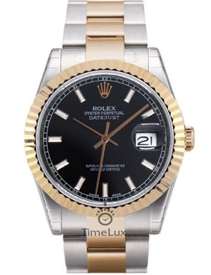 Replica Datejust 38mm 2-Tone Bronze Oyster Black Dial Stick Markers - TimeLux - Replica Watches Greece