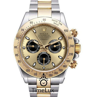 Replica Rolex Cosmograph Daytona 2-tone Gold Dial Black Sticks - TimeLux - Replica Watches Greece