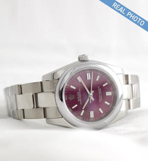 Replica Rolex Datejust 31mm Oyster Bezel Purple Dial Stick Markers - TimeLux - Replica Watches Greece