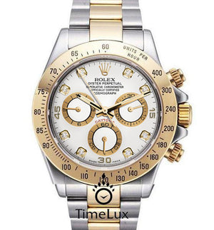 Replica Rolex Cosmograph Daytona 2-tone White Dial Diamond Markers - TimeLux - Replica Watches Greece