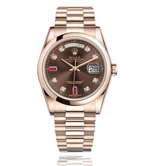 Replica Rolex Day-Date II 36mm Everose Gold Oyster Bezel Pink Diamond Dial - TimeLux - Replica Watches Greece