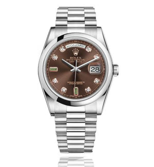 Replica Rolex Day-Date II 36mm Oyster Bezel Pink Diamond Dial - TimeLux - Replica Watches Greece