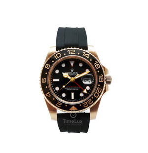 Replica Rolex GMT-Master II SS Rose Gold Black Ceramic Bezel - TimeLux - Replica Watches Greece