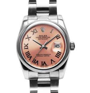Replica Rolex Datejust 38mm Pink Dial Roman Markers - TimeLux - Replica Watches Greece