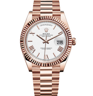 Replica Rolex Day-Date II 40mm Rose Gold Fluted Bezel White Dial Roman Markers - TimeLux - Replica Watches Greece