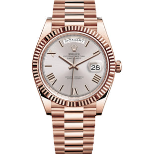 Replica Rolex Day-Date II 40mm Rose Gold Fluted Bezel Silver Dial Roman Markers - TimeLux - Replica Watches Greece