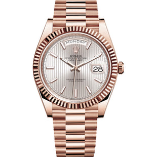 Replica Rolex Day-Date II 40mm Rose Gold Fluted Bezel Silver Line Motif Dial Stick Markers - TimeLux - Replica Watches Greece