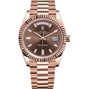 Replica Rolex Day-Date II 40mm Rose Gold Fluted Bezel Dark Chocolate Dial Diamond Markers - TimeLux - Replica Watches Greece