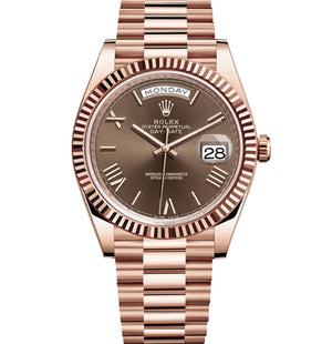 Replica Rolex Day-Date II 40mm Rose Gold Fluted Bezel Dark Chocolate Dial Roman Markers - TimeLux - Replica Watches Greece
