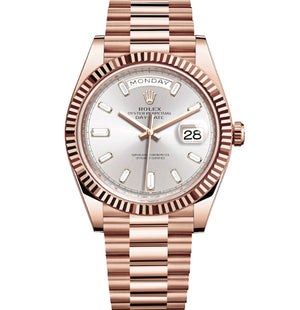 Replica Rolex Day-Date II 40mm Rose Gold Fluted Bezel Silver - Pearl Dial Diamond Markers - TimeLux - Replica Watches Greece