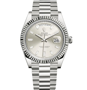 Replica Rolex Day-Date II 40mm SS Fluted Bezel Silver-Pearl Dial Diamond Markers - TimeLux - Replica Watches Greece