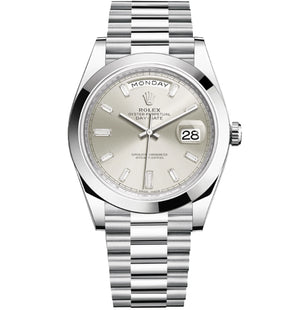 Replica Rolex Day-Date II 40mm SS Oyster Bezel SIlver-Pearl Dial Diamond Markers - TimeLux - Replica Watches Greece