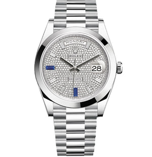 Replica Rolex Day-Date II 40mm SS Oyster Bezel Diamond Dial - TimeLux - Replica Watches Greece