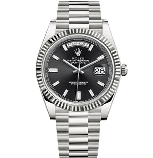 Replica Rolex Day-Date II 40mm SS Fluted Bezel Black Dial Diamond Markers - TimeLux - Replica Watches Greece