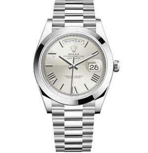 Replica Rolex Day-Date II 40mm SS Oyster Bezel SIlver Dial Roman Markers - TimeLux - Replica Watches Greece
