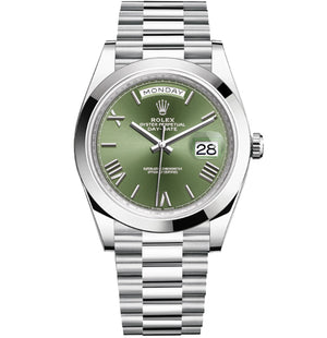 Replica Rolex Day-Date II 40mm SS Oyster Bezel Green Dial Roman Markers - TimeLux - Replica Watches Greece