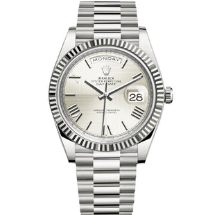 Replica Rolex Day-Date II 40mm SS Fluted Bezel Silver Dial Roman Markers - TimeLux - Replica Watches Greece