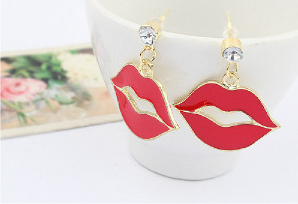 Hot red lips korean earrings - Elizabeth Accessories, Earrings - Sunglasses and Eyeglasses