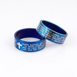 Stainless steel blue bible cross couple ring - Elizabeth Accessories, Stainless steel couple ring - Sunglasses and Eyeglasses