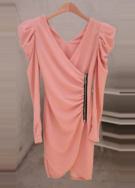 Pink Puff Sleeve Side Zipper Design Wrap Dress - Elizabeth Accessories, apparels - Sunglasses and Eyeglasses