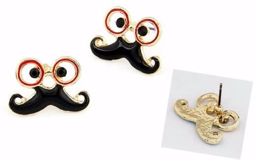 Glassess Moustache Shape Alloy Stud Earrings - Elizabeth Accessories, Earrings - Sunglasses and Eyeglasses