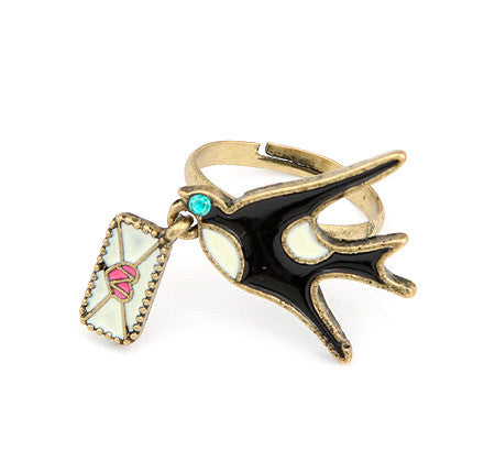Lovely bird and love letter ring - Elizabeth Accessories, Ring - Sunglasses and Eyeglasses