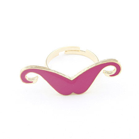 Candy color mustache opening ring - Elizabeth Accessories, Ring - fashion Accessories